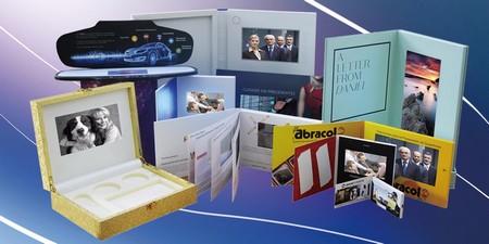 Carte publicitaire - divers modèles de cartes et de coffrets avec écran vidéo